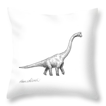 Brachiosaurus Black And White Dinosaur Drawing  Throw Pillow by Karen Whitworth