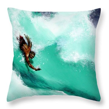 Brad Miller In Makaha Shorebreak Throw Pillow