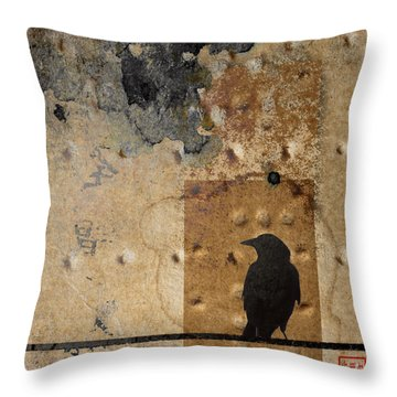 Braille Crow Throw Pillow