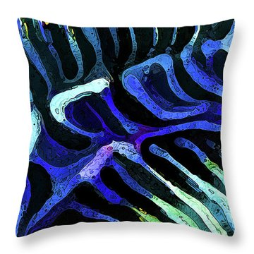 Brain Coral Abstract 3 In Blue Throw Pillow
