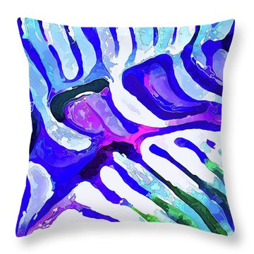Brain Coral Abstract 5 In Blue Throw Pillow