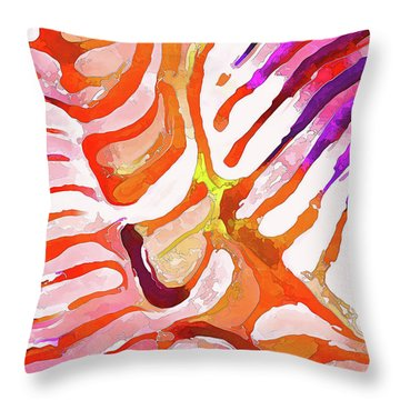 Brain Coral Abstract 6 In Orange Throw Pillow