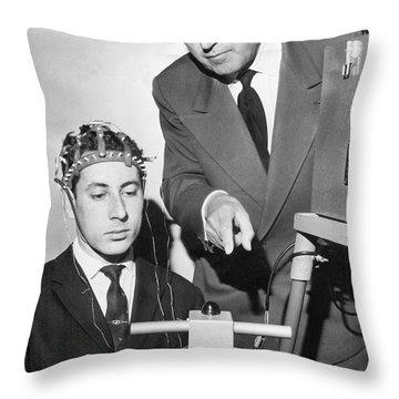 Brain Waves Illuminate Bulb Throw Pillow