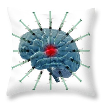 Brain With Syringes Throw Pillow