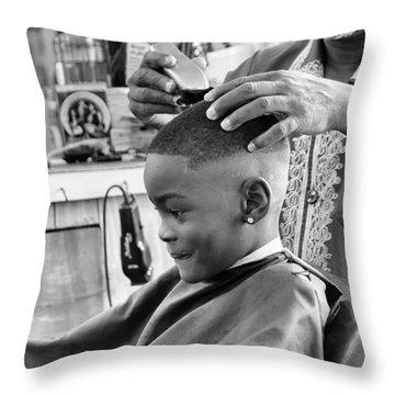 Brian's Haircut Throw Pillow by Patricia Schaefer