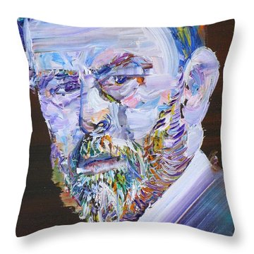 Throw Pillow featuring the painting Bram Stoker - Oil Portrait by Fabrizio Cassetta