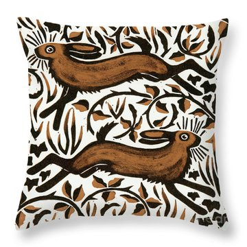 Bramble Hares Throw Pillow