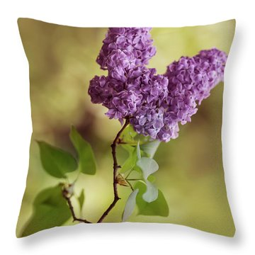 Branch Of Fresh Violet Lilac Throw Pillow