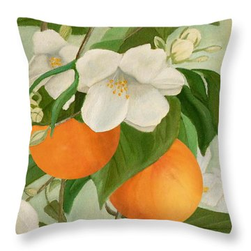 Branch Of Orange Tree In Bloom Throw Pillow