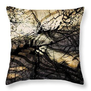 Throw Pillow featuring the photograph Branches Illuminated By Bright Sunshine, Double Exposed Image by Nick Biemans