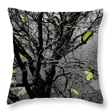 Branches In Green II Throw Pillow by Renie Rutten