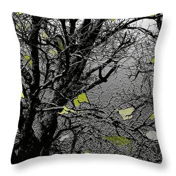 Branches In Green Throw Pillow