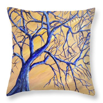 Branches Of Blue Throw Pillow