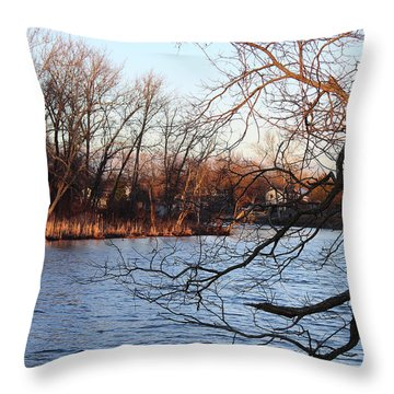 Branches Over Water Throw Pillow