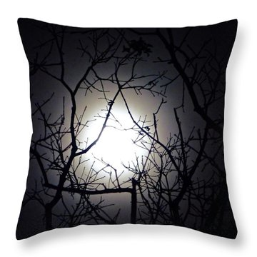 Branches To The Moon Throw Pillow