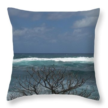 Branches Waves And Sky Throw Pillow