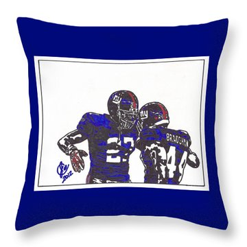 Throw Pillow featuring the drawing Brandon Jacobs And Ahmad Bradshaw by Jeremiah Colley