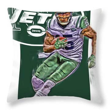 Brandon Marshall New York Jets Oil Art Throw Pillow