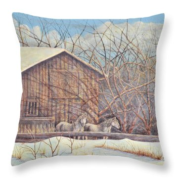 Throw Pillow featuring the painting Brandon's Horses by Dusty Bahnson