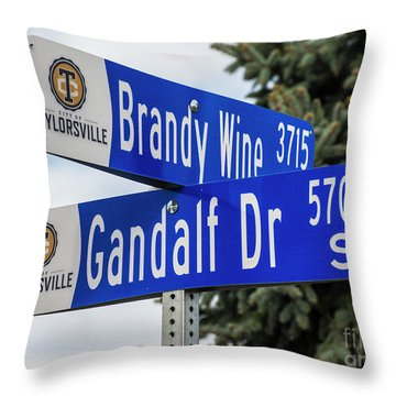 Throw Pillow featuring the photograph Brandywine And Gandalf Street Signs by Gary Whitton