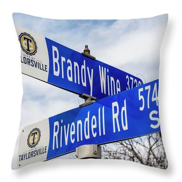 Throw Pillow featuring the photograph Brandywine And Rivendell Street Signs by Gary Whitton