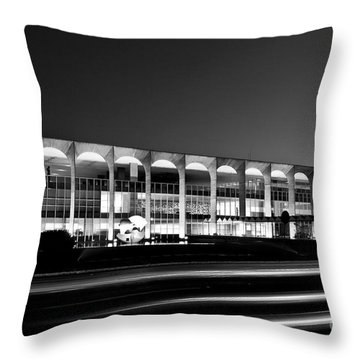 Brasilia - Itamaraty Palace - Black And White Throw Pillow