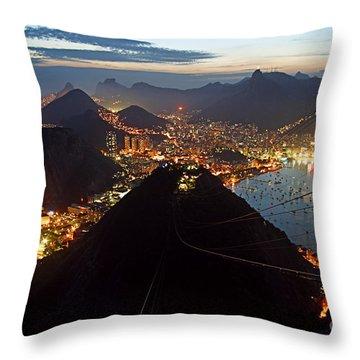 Throw Pillow featuring the photograph Brasil,rio De Janeiro,pao De Acucar,viewpoint,panoramic View,copacabana At Night by Juergen Held