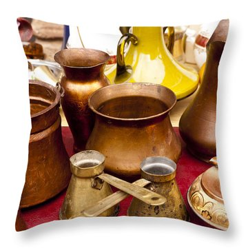 Brass Antiques Throw Pillow by Rae Tucker