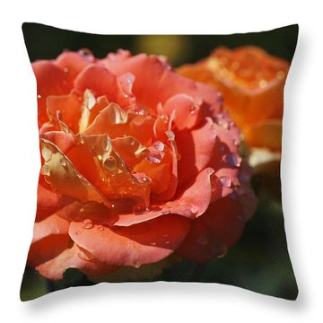 Brass Band Roses Throw Pillow by Rona Black