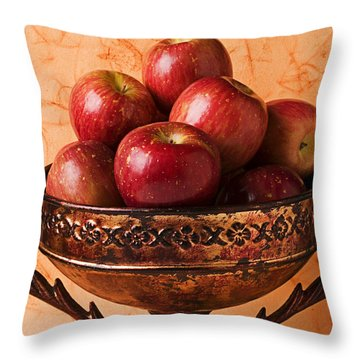 Brass Bowl With Fuji Apples Throw Pillow by Garry Gay