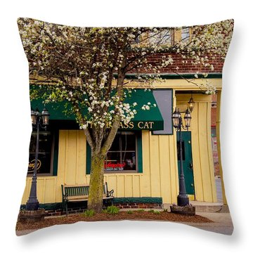 Brass Cat Pub Easthampton Throw Pillow