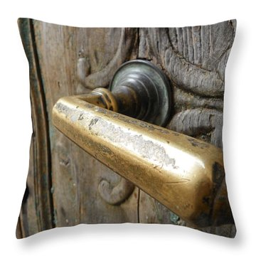 Brass Door Handle Throw Pillow