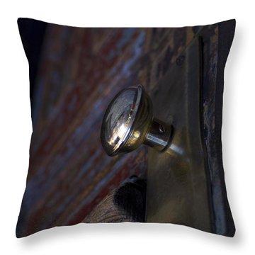Brass Door Knob I Throw Pillow by Henri Irizarri