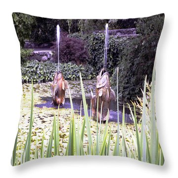 Brass Fish Descanso Gardens  Throw Pillow by Gilbert Artiaga