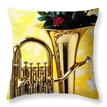 Brass Tuba With Red Roses Throw Pillow by Garry Gay