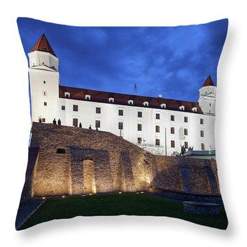 Bratislava Castle By Night In Slovakia Throw Pillow
