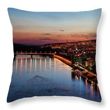 Bratislava City At Dusk Throw Pillow