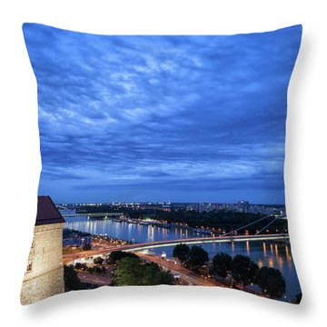 Bratislava City Evening Cityscape Throw Pillow