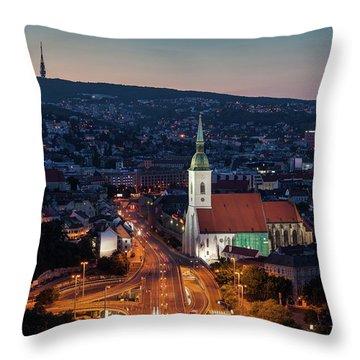 Bratislava Evening Cityscape Throw Pillow