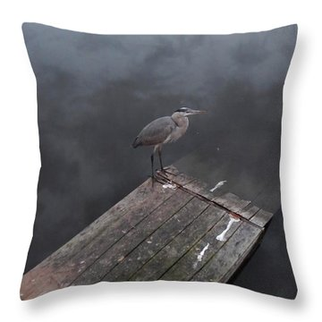 Brave Heron Throw Pillow by Expressionistart studio Priscilla Batzell