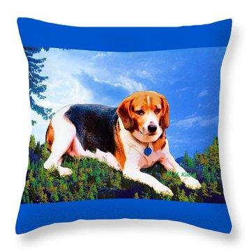 Throw Pillow featuring the painting Bravo The Beagle by KLM Kathel