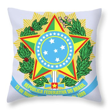 Throw Pillow featuring the drawing Brazil Coat Of Arms by Movie Poster Prints