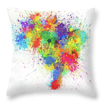Brazil Paint Splashes Map Throw Pillow