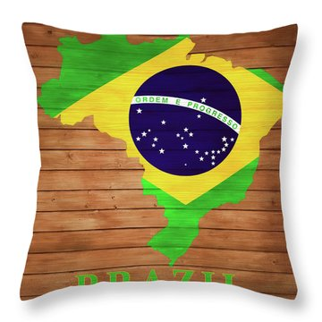 Brazil Rustic Map On Wood Throw Pillow
