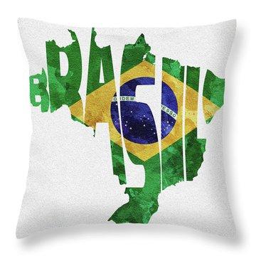 Brazil Typographic Map Flag Throw Pillow