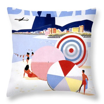 Brazil Vintage Travel Poster Restored Throw Pillow