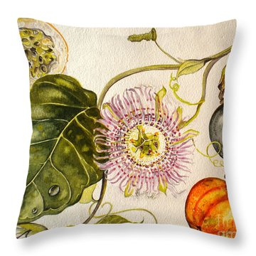 Brazilian Passion Fruit             Passiflora Ligularis Seme Throw Pillow by Sandra Phryce-Jones