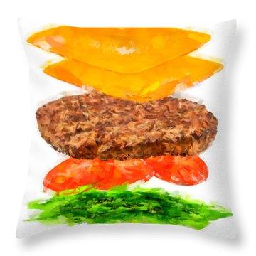 Brazilian Salad Cheeseburger Throw Pillow