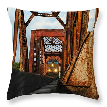 Brazos River Railroad Bridge Throw Pillow