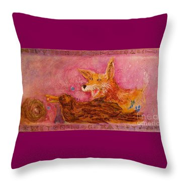 Throw Pillow featuring the painting Bre Fox And Bre Crow by Gertrude Palmer